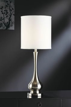 Brushed Nickel One Light Table Lamp Crestview Collection Accent Lamp Table Lamps Lamps Metal Table Lamps, Table Lamp Base, Table Lamp Sets, Light Table, Crestview Collection, Buffet Lamps, Lamp Shade Store, Transitional Wall Sconces, Transitional Style