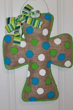 burlap cross  | Blue Green Burlap Cross Door Hanger by TrucksCreativeCrafts