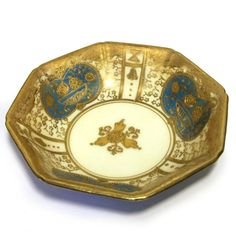 Vintage Gold and Blue Porcelain Bowl