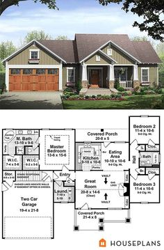 Craftsman style house plan (#21-246) ~ One-story, 1509sf, 3 bdrm, 2 bath, double garage with storage room. Split bedroom plan. Mstr bdrm 9-ft trayed ceiling & 2 walk-in closets. Great room with vaulted ceiling, fireplace flanked with built-in shelves. Laundry room, kitchen pantry, two covered porches #cottage #sheridan