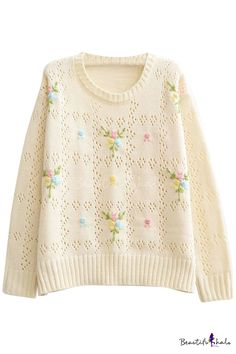 Embroidered Floral Pattern Round Neck Long Sleeve Cutout Sweater