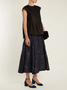 Click here to buy Rochas Capped-sleeves wool and silk-blend top at MATCHESFASHION.COM