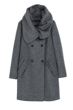 The Coat  The wool coat gets an upgrade with a cowl neck that is both stylish and cozy.  Zara Woolen Wraparound Coat, $159; zara.com #Fashion #Classic #Coat