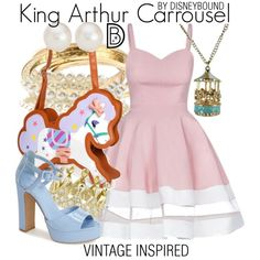 King Arthur Carrousel by leslieakay on Polyvore featuring Topshop, Forever 21, Blue Nile, disney, disneybound and disneycharacter