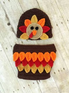 Crochet Baby Turkey Hat and Diaper Cover