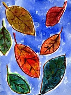 Textured fall leaves.  Cut leaves from paper towels and attach to watercolor paper by dipping into watered down glue and spreading on paper.  Trace around each leaf heavily with crayon adding a stem.  Use watercolors to paint leaves and background.