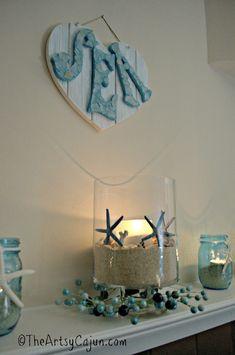 The Artsy Cajun, Home Tour, Coastal Decor, Beach Decorations, DIY sea side themed living room, Lilly Pulitzer, Lilly Pulitzer home decorations, Starfish, sea glass