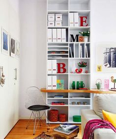 vertical bookshelf - small space solution