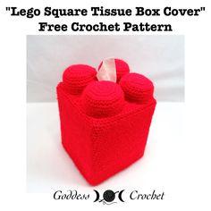 Free Crochet Pattern – Square Lego Tissue Box Cover – Goddess Crochet