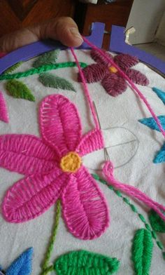 Hand Embroidery Flowers Design #flowerembroidery