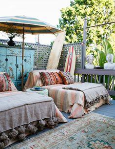 Bohemian outdoor space via Lonny
