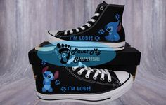 Lilo and Stitch I'm Lost converse hand painted shoes Lilo Stitch, Lelo And Stitch, Cute Stitch, Custom Converse Shoes, Cute Converse, Custom Shoes, Vans Checkerboard Slip On, Cartoon Shoes, Disney Shoes
