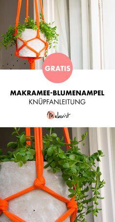 Gratis Anleitung: Makramee-Blumenampel knüpfen - kostenlose Knüpfanleitung via Makerist.de #diy #diyhomedecor #diyproject #diycrafts #doityourself #knüpfen #crafting #basteln #bastelanleitung #bastelnisttoll #bastelideen #makramee #pflanzgefäße #pflanzen