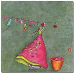 Charming art card by Gaelle Boissonnard of France. Image: tall slender whimsical girl hanging out hearts on a clothsline. Colors: girl in pink, cambridge blue background. Art Fantaisiste, Art Carte, Creation Art, Heart Art, Whimsical Art, Cute Illustration, Fabric Art, Beautiful Paintings, Love Art
