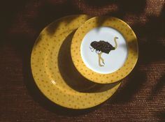 ostrich dinnerware: charger and dessert plate.so jungle! (#safari, #out of africa, #jungle) Jungle collection, safari, , Dinnerware, porcelain, Africa, hand made,FRAGILE by Patricia Deroubaix.Limoges France