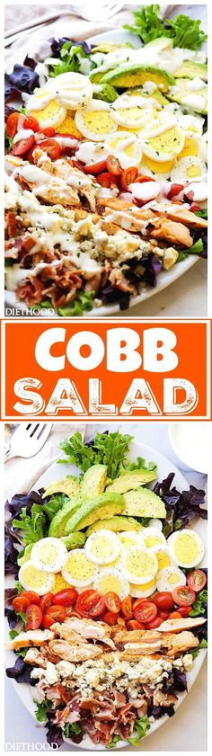 Cobb Salad Recipe via Diethood - This classic American main-dish salad is packed with chicken, avocado, sweet tomatoes, crunchy bacon, blue cheese, and eggs, all topped with a lightened-up blue cheese dressing. Yummy!