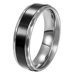 11b50576397 JewelryWe Bijoux Bague Homme Amour Vintage Engagement Mariage Acier  Inoxydable Anneaux Fantaisie Couleur Argent Noir Largeur 6mm Sac  Cadeau(Taille de Bague ...