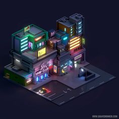 """I am not sure that I exist, actually. I am all the writers that I have read, all the people that I have met, all the women that I have loved; all the cities I have visited. Cyberpunk City, Futuristic City, Isometric Art, Isometric Design, Design 3d, Game Design, Neon Design, Environment Concept Art, Environment Design"