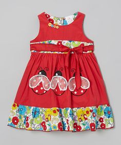 Loving this Red Ladybug Ruffle Dress - Toddler & Girls on #zulily! #zulilyfinds