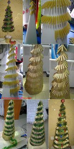 Como fazer árvore de natal de macarrão