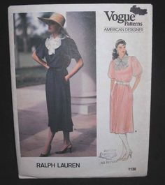 Vintage 80s VOGUE 1136 American Designer pattern RALPH LAUREN dress sz 6 8 10