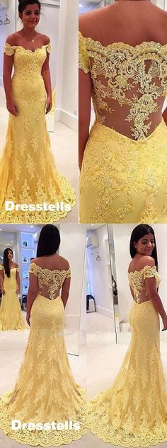 2016 mermaid yellow lace prom dress, mermaid off-the-shoulder prom dress evening dress party dress