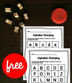 This simple ABC game can be modified to match your child& ability! Letter Activities, Preschool Worksheets, Literacy Activities, Toddler Activities, Uppercase Alphabet, Alphabet Stamps, Abc Games, Toddler Play, Lower Case Letters