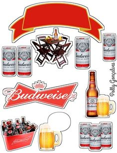 Bolo Budweiser, Makeup Stickers, Logo Gallery, Card Templates, Cake Toppers, Cake Decorating, Birthday Cake, Beer, Printables