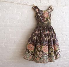 Retro Print Dress - lovely print & colours - not too loud. Maybe pair with grey shoes & quiet scarf/necklace so as not to compete/clutter