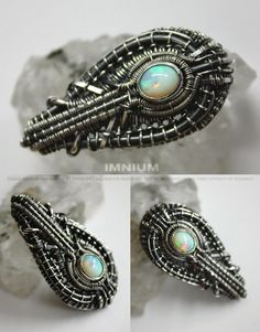 Opal pendant bezel set & wire wrapped sparkly opal. by IMNIUM