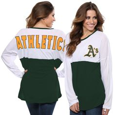 Oakland Athletics Concepts Sport Women's Comeback Long Sleeve T-Shirt - White/Green