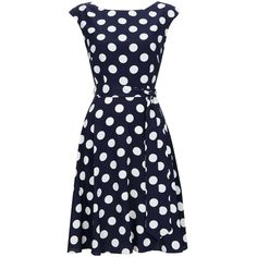Navy Polka Dot Fit And Flare Dress ($41) ❤ liked on Polyvore featuring dresses, knee length dresses, blue polka dot dress, cap sleeve fit and flare dress, polka dot dress and blue fit and flare dress