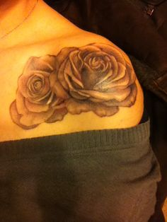 Front shoulder black, gray and white realistic rose tattoo