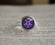 Handmade Black Butler kuroshitsuji Sebastian Michaelis Contract seal emblem, symbol Inspired glass cabochon dome Adjustable Ring on Etsy, $14.70