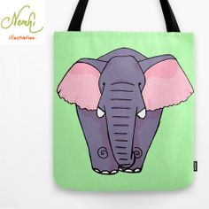 Elephant Illustrated Tote Bag by nemki on Etsy, £19.01