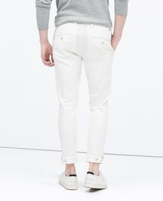 ZARA - MAN - WHITE PATTERNED WEAVE TROUSERS WITH CUFFS