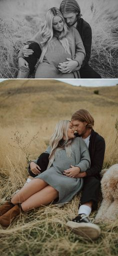 Maternity pictures with your dog and husband. Black and grey maternity outfits. Couple Maternity Poses, Winter Maternity Pictures, Cute Pregnancy Pictures, Couple Pregnancy Photoshoot, Maternity Photo Outfits, Outdoor Maternity Photos, Maternity Shoots, Couple Shoot, Country Maternity Photography