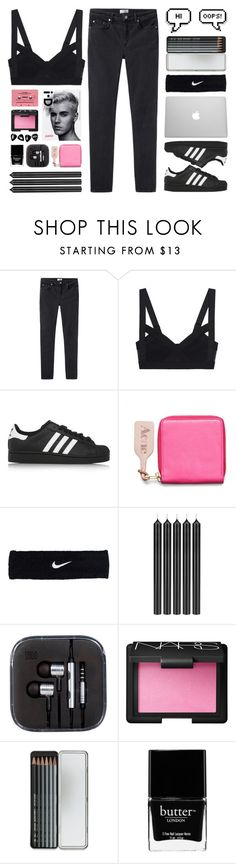 """""""One Dance"""" by b-o-y-s ❤ liked on Polyvore featuring Acne Studios, adidas Originals, CASSETTE, NIKE, Tom Dixon, NARS Cosmetics, Caran D'Ache and Butter London"""