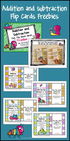 FREEBIES - Addition and Subtraction Clip, Flip, Check Cards. Children clip the facts that add or subtract to the number on the card. Then they flip the card over to check their answers! The kids love these flip cards! Math For Kids, Fun Math, Math Resources, Math Activities, 1st Grade Math, Second Grade, Guided Math Groups, Math Stations, Math Centers