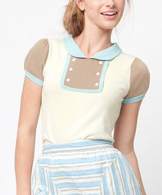 Take a look at this Tan & Blue Twin Palm Top by Dear Creatures on #zulily today!