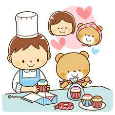 お菓子作り・カップケーキを作る男の子とクマのイラスト(ソフト)