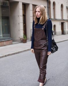 Leather dungarees @ganni