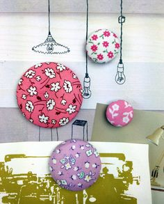 Fabric Covered Button Magnets by HawthornBramble on Etsy, $5.25