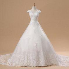 Romantic Lace Up A-line Wedding Dresses 2016 V-Neck