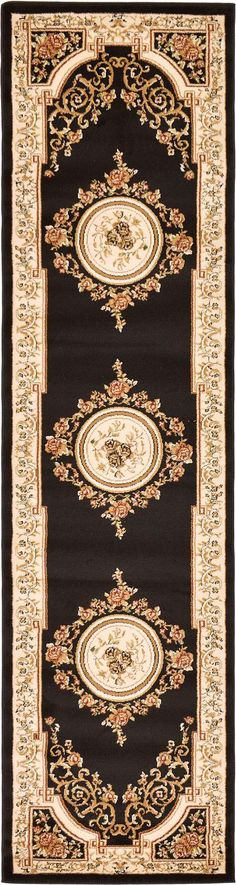 Black 7 x Classic Aubusson Runner Rug Black 7 x 0 Classic Aubusson Rug Diy Carpet, Rugs On Carpet, Aubusson Rugs, Arabesque, Decorating Blogs, Floor Rugs, Throw Rugs, Pattern Paper, Rug Runner