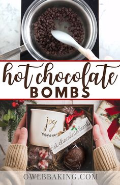 Hot Chocolate Gifts, Christmas Hot Chocolate, Chocolate Bomb, Hot Chocolate Bars, Hot Chocolate Recipes, Hot Chocolate Toppings, Chocolate Diy, Chocolate Shells, Homemade Hot Chocolate