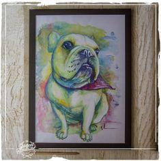 Ilustração Original - Bulldog Francês Amora -  Formato A3