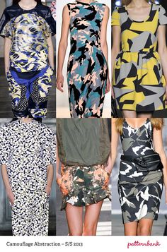 Camouflage Abstraction-S/S 2013-Unusual Colour Combos – Hidden Imagery – Bold Shapes – Contrasting Scales – Paint Overlays – Floral Disguises – Distorted Shapes