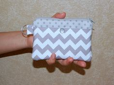 Grey Chevron and Polka Dots  Small Zipper Pouch / by RKEMdesigns, $9.50