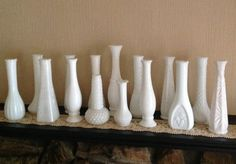 15 Milk Glass Vases / Wedding Collection / by ReFeatherYourNest, $85.00